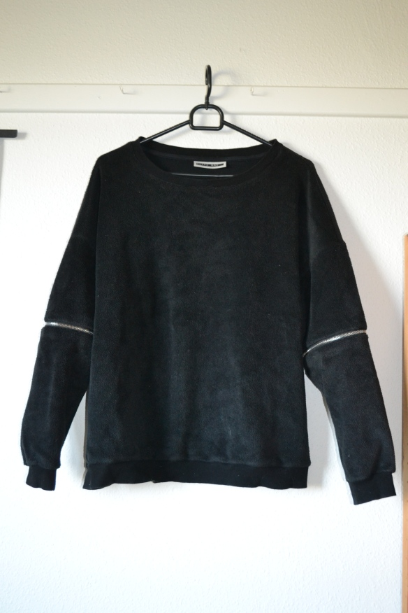 Sort 'fleece' sweater m. lynlåse - Noisy May