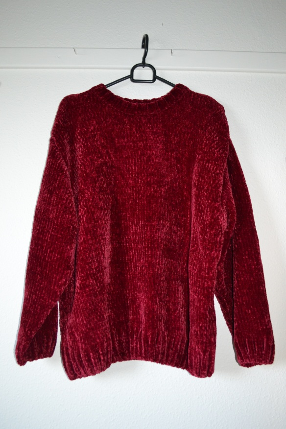 Bordeauxrød velor sweater - Monki