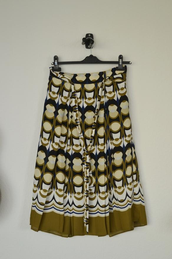 Brun, hvid, blå og sort mønstret midi nederdel - H&M