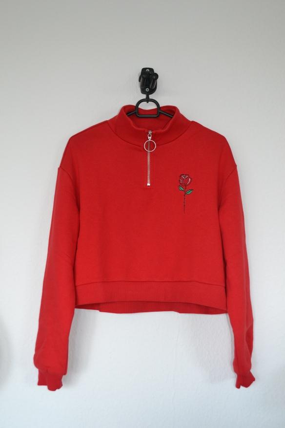 Rød cropped sweatshirt m. lynlås og rose - H&M