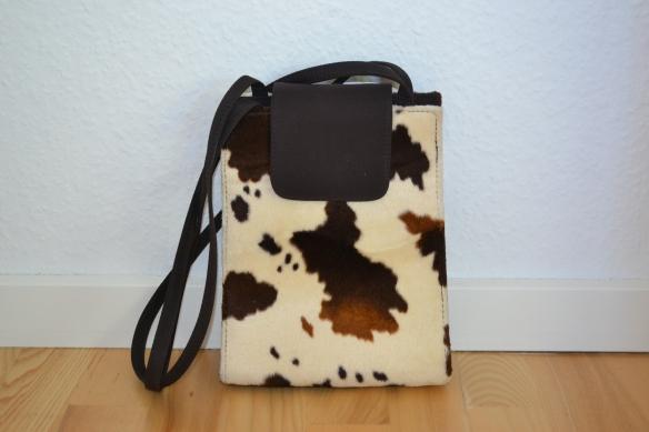 Cremefarvet og brun koprint håndtaske - second hand