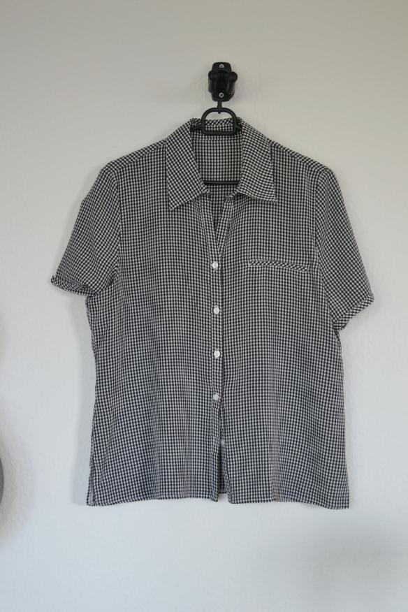 Sort og hvid gingham kortærmet skjorte - second hand