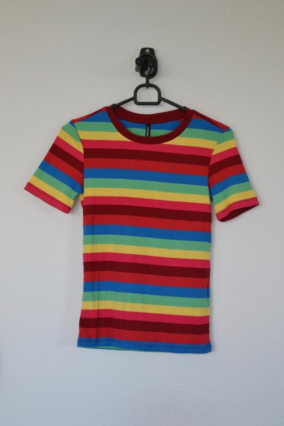 Regnbuefarvet stribet T-shirt - Stradivarius