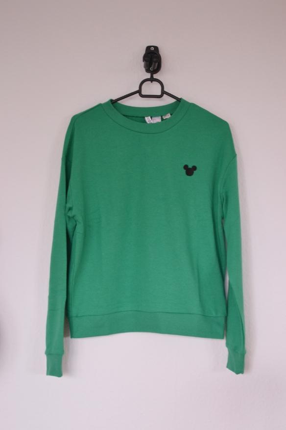 Grøn sweatshirt m. Mickey Mouse logo - H&M