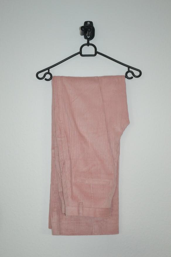 Lyserøde fløjlsbukser m. vide - H&M