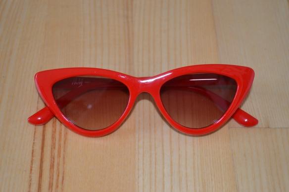 Røde cat-eve solbriller