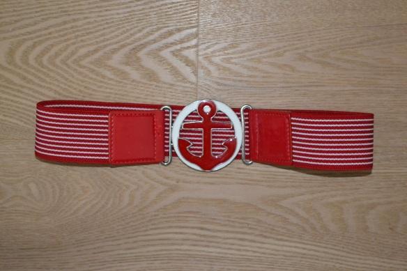 Rødt og hvidt elastisk bælte m. anker - second hand