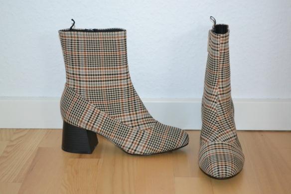 Beige og brun ternede støvler m. chunky hæl - Monki
