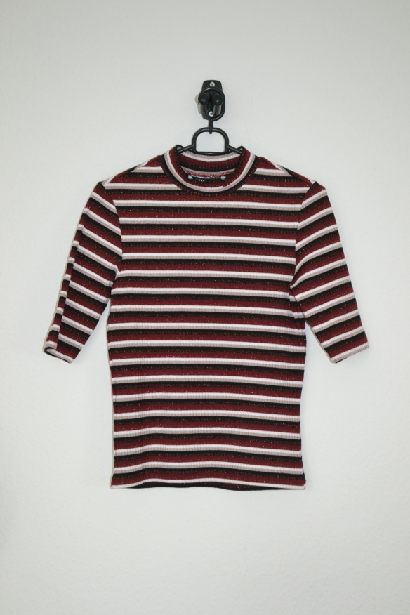 Bordeaux, sort og hvid stribet T-shirt m. glimmer - Monki