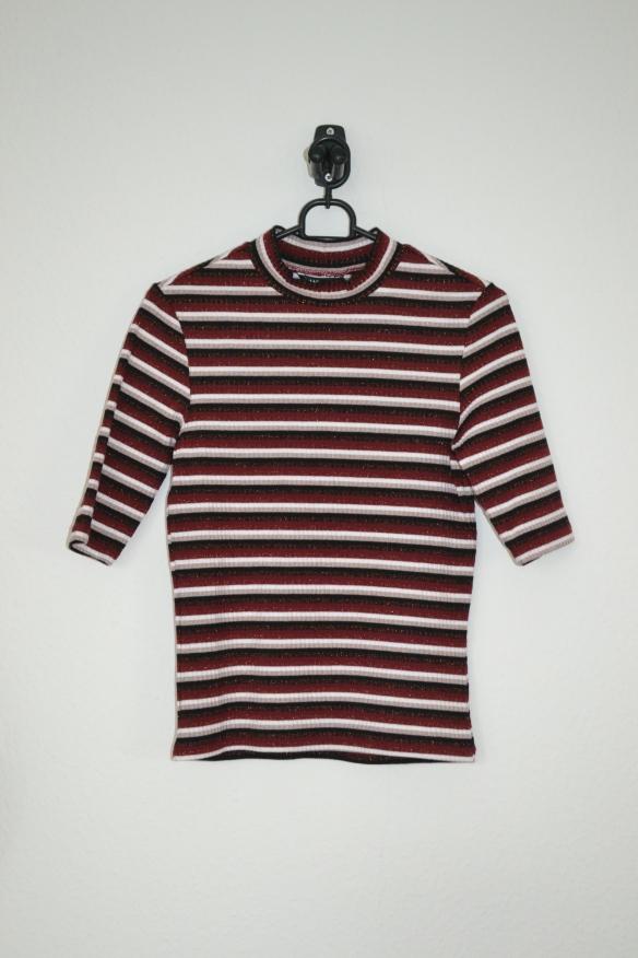 Bordeaux, sort og hvid stribet T-shirt m. glimmer - Monki