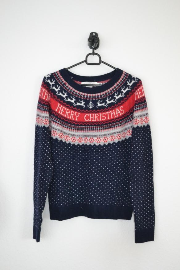 Mørkeblå sweater m. rød, hvid og lysegrå julemønster - H&M