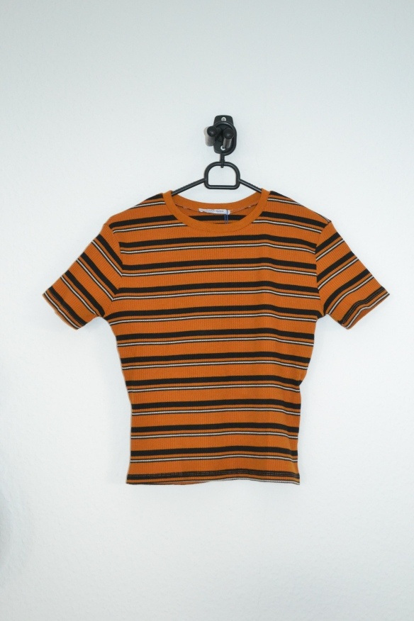 Orange, navy og hvid stribet T-shirt - Zara