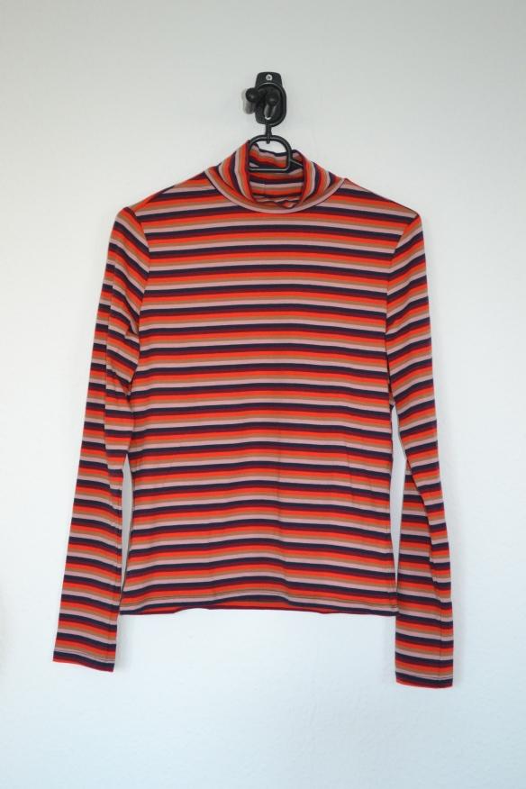 Bordeaux, lyserød, orange, brun og mørkeblå stribet højhalset trøje - Monki
