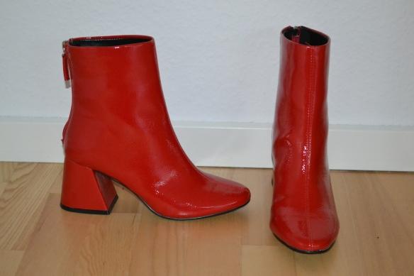 Røde lak støvler m. trekantet chunky hæl - Even&Odd