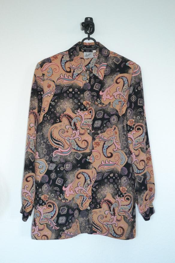 Sort, beige, brun, lyserød m.m. mønstret skjorte - second hand