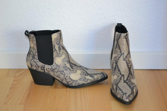 Beige snake print støvler m. chunky hæl - New Look