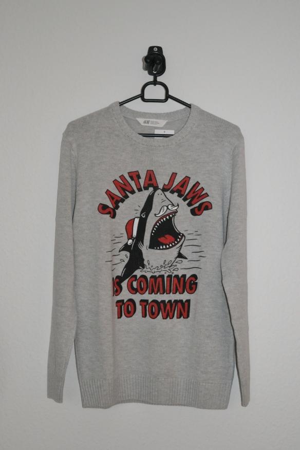 Grå sweater m. julemandshaj - H&M
