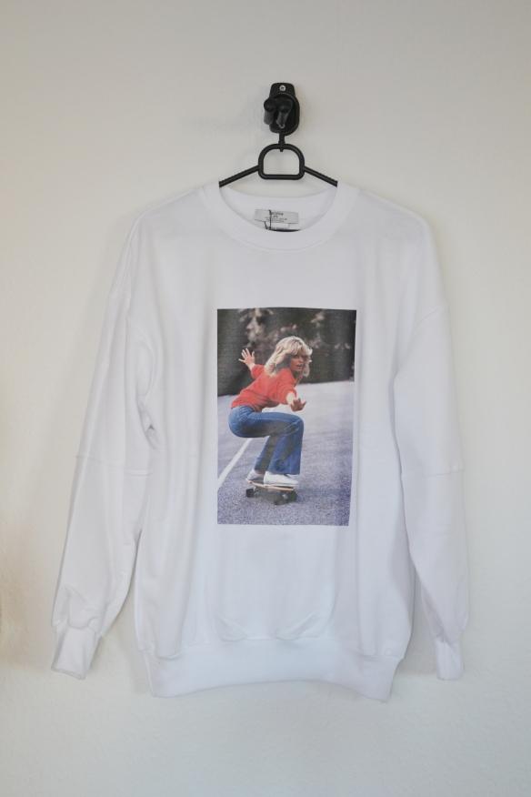 Hvid sweatshirt m. Farrah Fawcett - Bershka