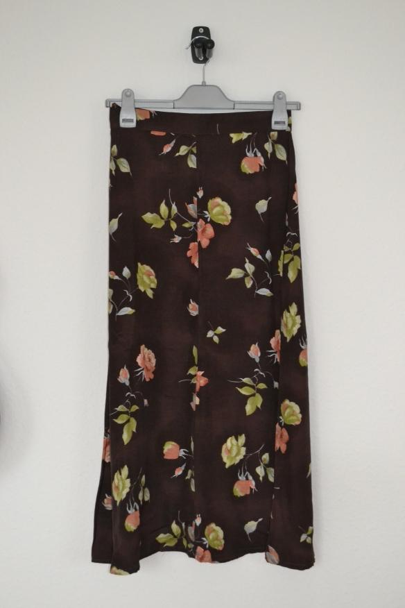Mørkebrun maxi nederdel m. blomster - second hand