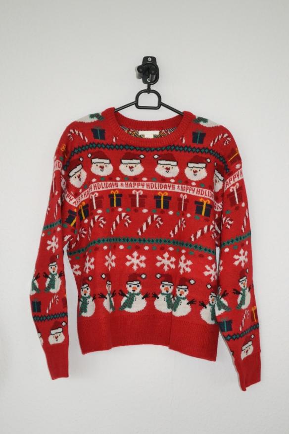 Rød sweater m. julemænd, pakker, snemænd m.m. - H&M