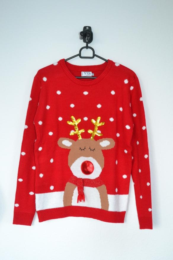 Rød sweater m. rensdyr, sne og musik - VRS