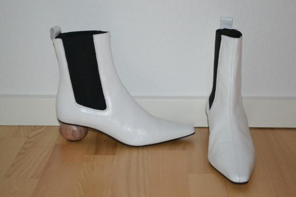 Hvide støvler m. rund træhæl - Topshop