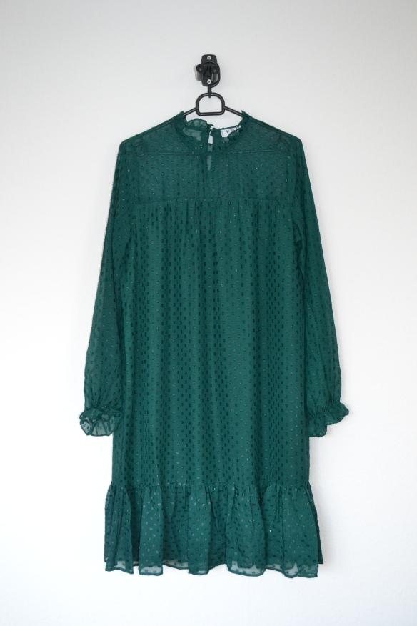 Mørkegrøn kjole m. glimmer prikker - VRS