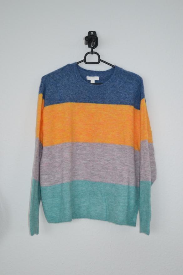 blå, gul, grålilla og grøn stribet sweater - h&m