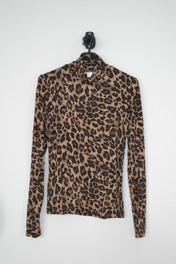 brun, beige og sort leopardmønstret rullekravetrøje - h&m