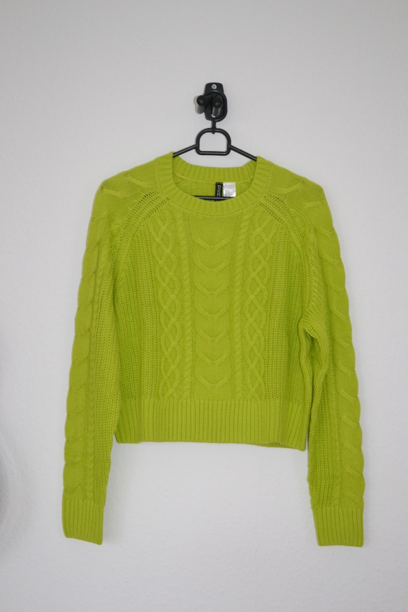 limegrøn cropped sweater - h&m