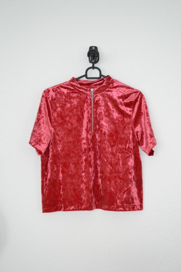 rød velour t-shirt m. lynlås - h&m