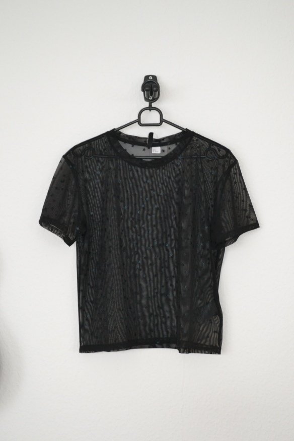 sort mesh t-shirt m. stjerner - h&m