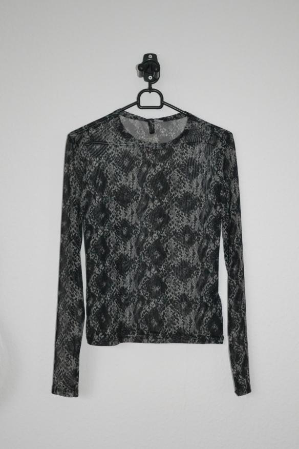 Grå og sort snake print mesh top - H&M