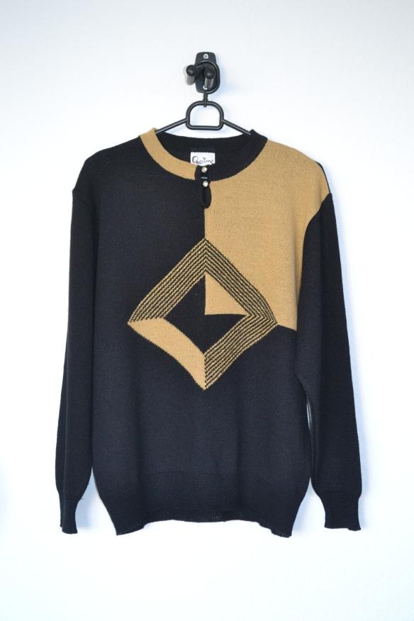 Sort og beige sweater m. guld detaljer - second hand