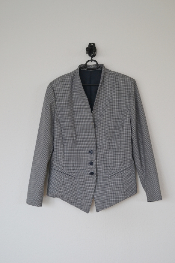 Navy og hvid gingham blazer - second hand
