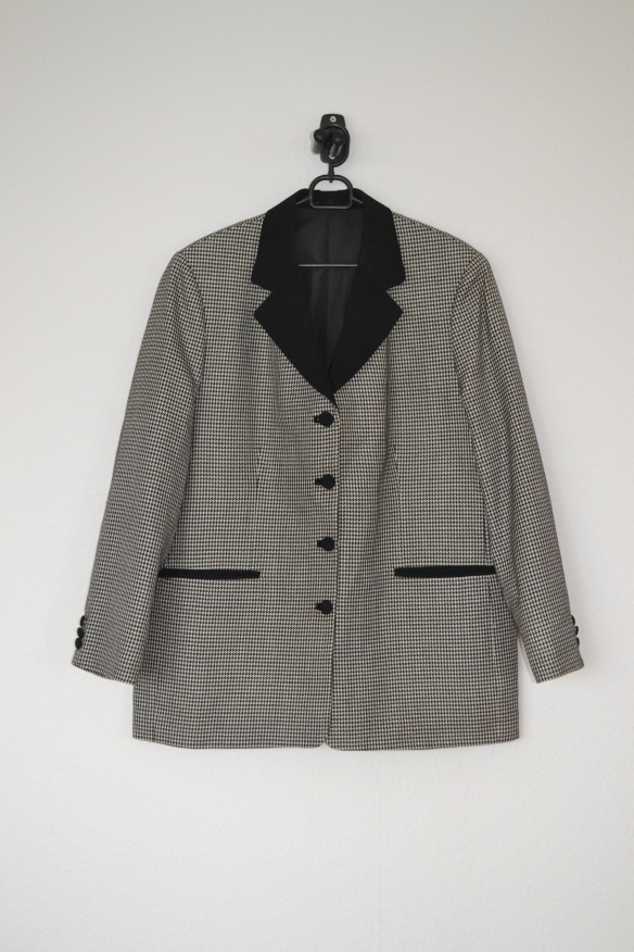 Sort og hvid houndstooth mønstret oversized blazer - second hand