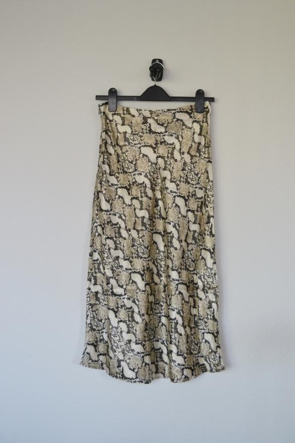 Beige midi nederdel m. slange print - H&M