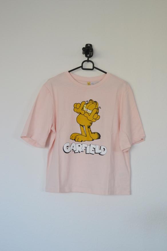 Lyserød T-shirt m. Garfield print - H&M