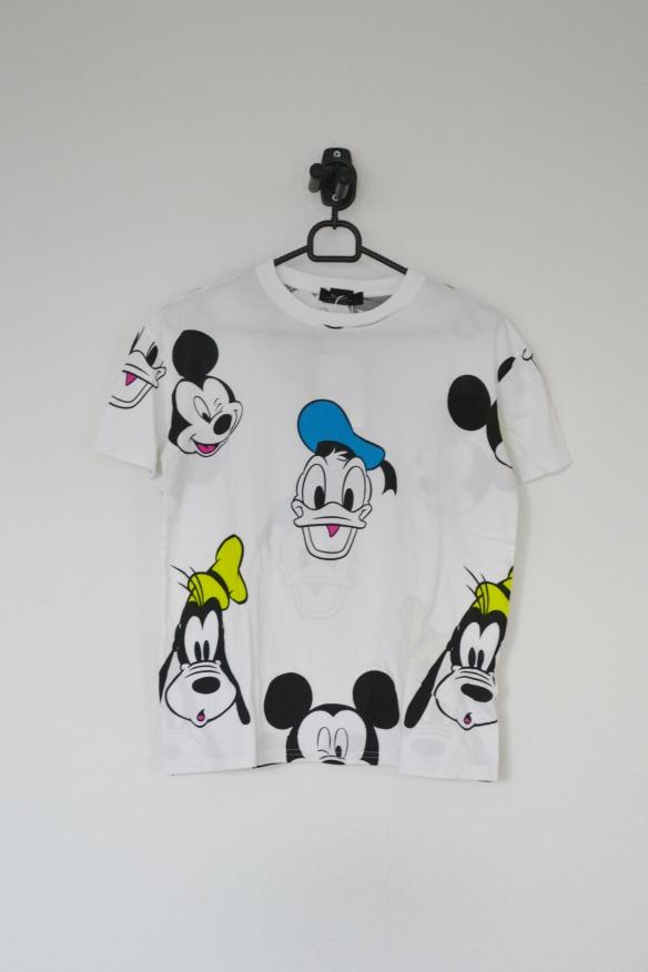 Hvid T-shirt m. Mickey, Anders og Fedtmule - Bershka