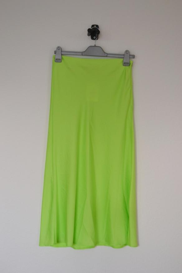 Neongrøn midi nederdel - Bershka