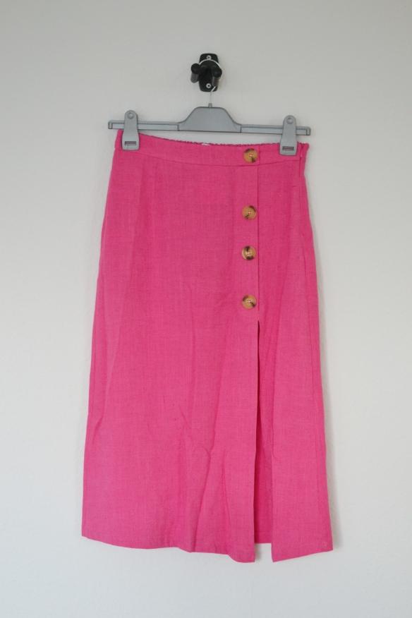 Pink midi nederdel m. knapper og slids - Bershka