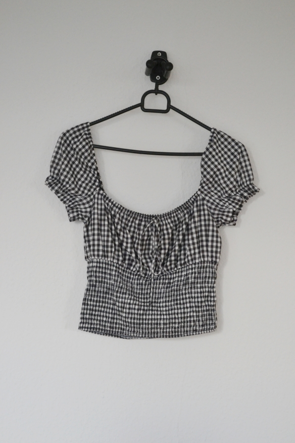 Sort og hvid gingham crop top - Bershka