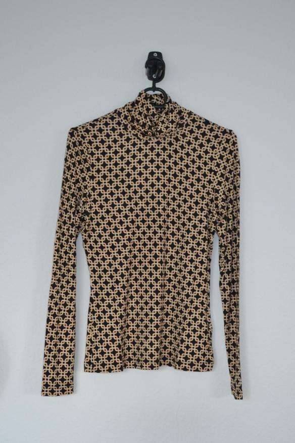 Brun, gul og cremefarvet mønstret rullekravetrøje - H&M x Richard Allen