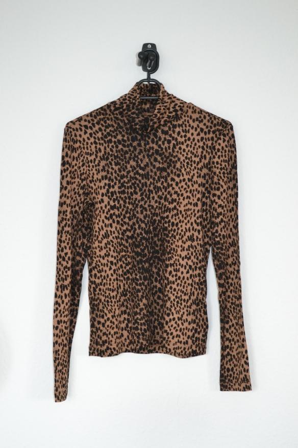Brun og beige gepardmønstret rullekravetrøje - H&M