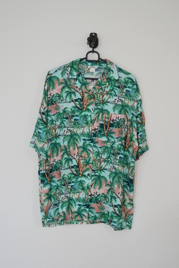 Grøn, blå og lyserød hawaii skjorte - Monki