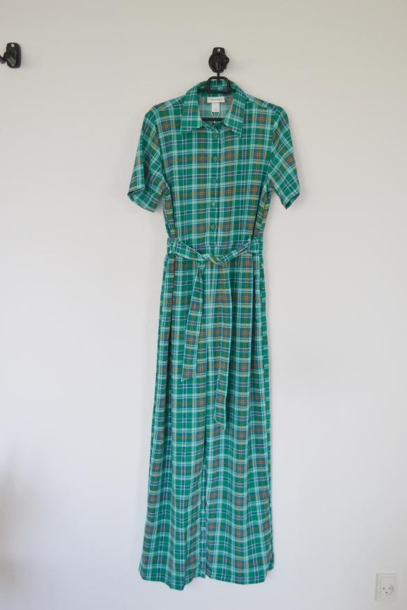 Grøn ternet buksedragt m. knapper og bindebånd - Monki