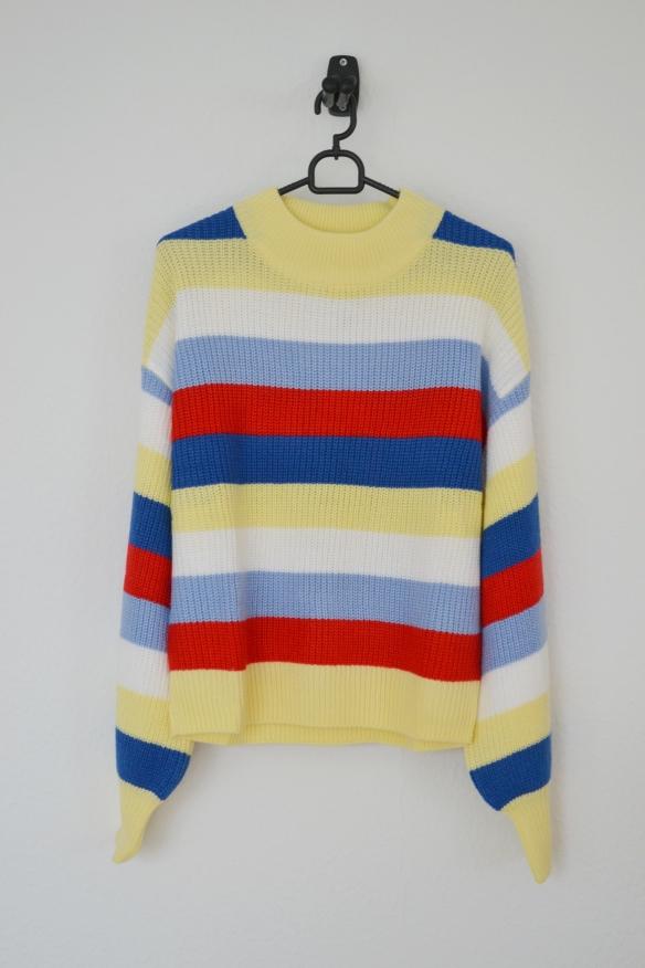Gul, blå, rød og hvid stribet sweater - Monki