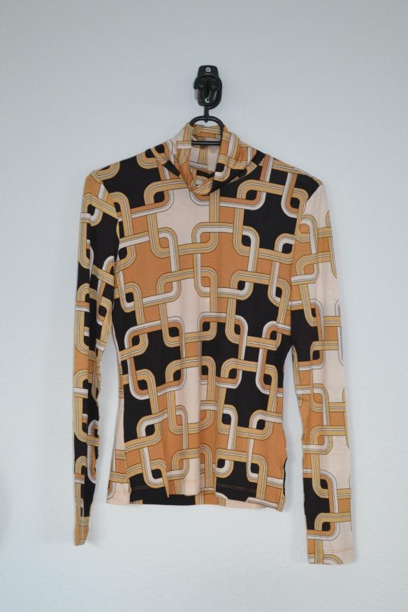 Gul, sort og cremefarvet mønstret rullekravetrøje - H&M x Richard Allen