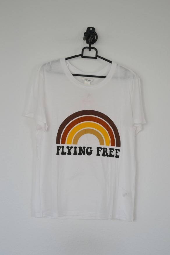 Hvid T-shirt m. regnbue i brune farver og tekst - Monki