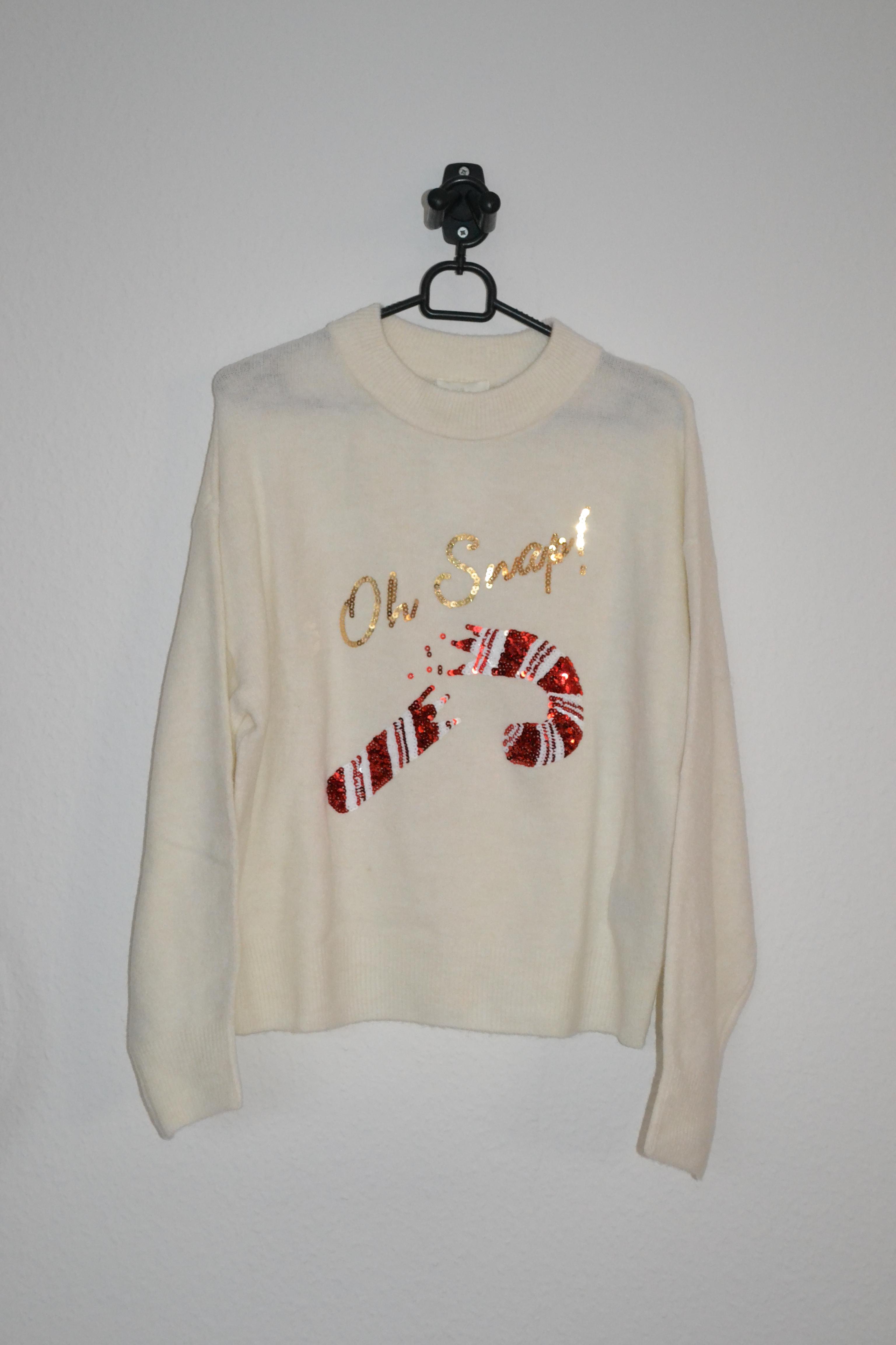 Cremefarvet sweater m. slikstok i pailletter - H&M